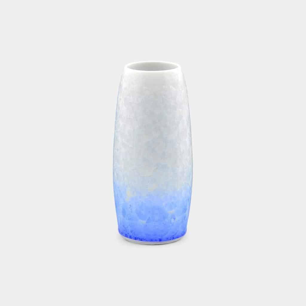 【京焼-清水焼】陶葊 花結晶 (白地青) 花瓶