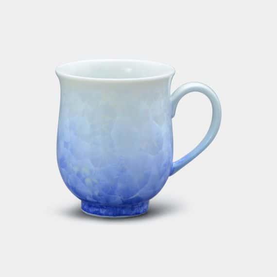 【京焼-清水焼】陶葊 花結晶 [白地青] マグカップ