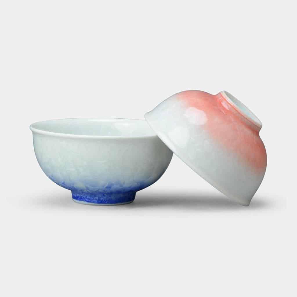 【京焼-清水焼】陶葊 花結晶 (白地青赤) 湯のみ (2点セット)