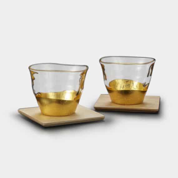 【金沢箔】箔一 貫入 冷茶グラス&コースター[2個]