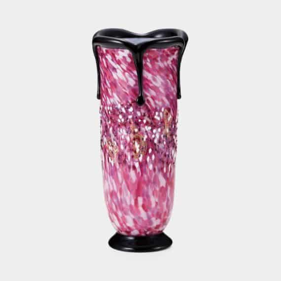 【津軽びいどろ】北洋硝子 (アデリア) 花あかり 黒重ね花瓶