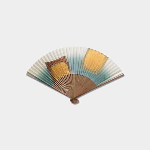 【金沢箔】箔一 扇子 箔美 古代箔 (緑) Kodaihaku (男女兼用)