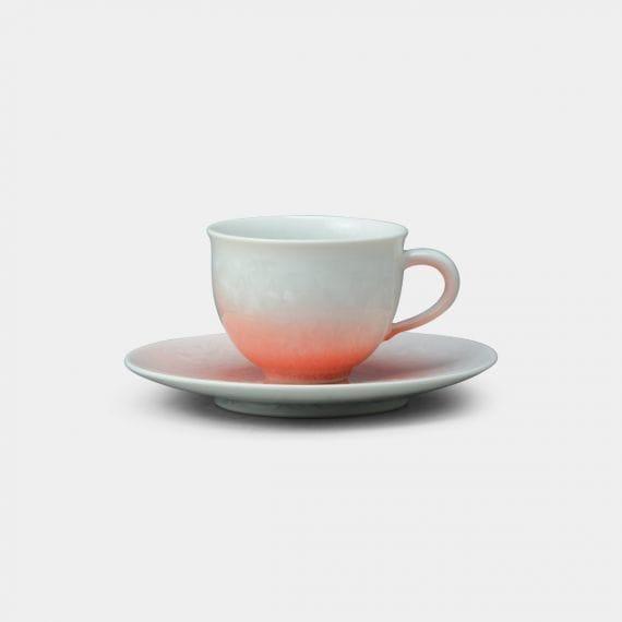 【京焼-清水焼】陶葊 花結晶 (白地赤) コーヒーカップ