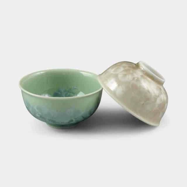 【京焼-清水焼】陶葊 花結晶 (緑 茶) 茶碗 (2点セット)