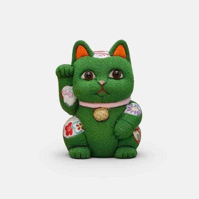 【江戸木目込み】柿沼人形 招き猫 風水 (緑) 安息 疲労回復