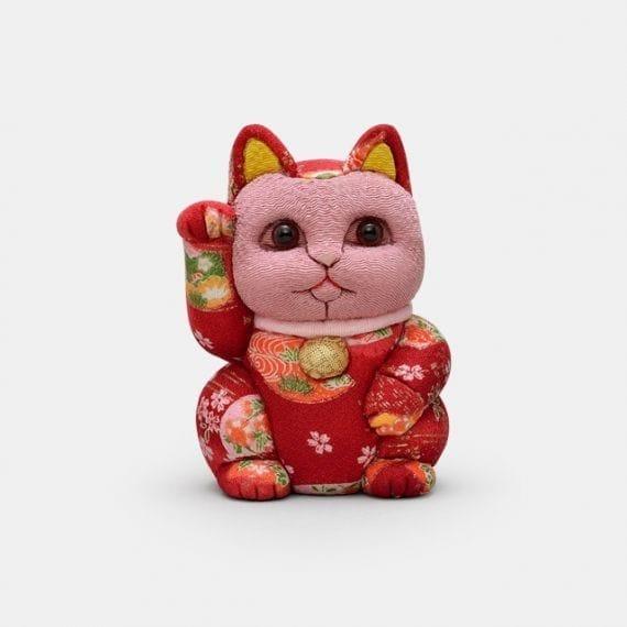 【江戸木目込み】柿沼人形 招き猫 友禅赤