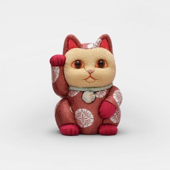 【江戸木目込み】柿沼人形 招き猫 有織