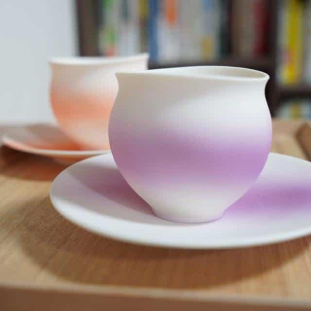 【陶芸家】藤岡光一 ゆきあかりカップ-むらさき