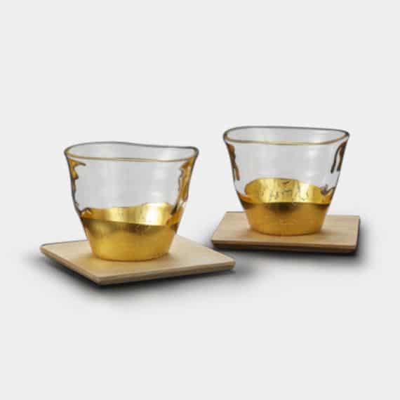 【金沢箔】箔一 貫入 冷茶グラス&コースター (2個)