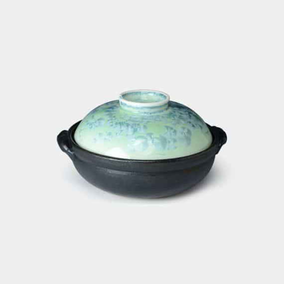 【京焼-清水焼】陶葊 花結晶 (緑) 土鍋 (ガス&IH用)