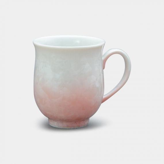 【京焼-清水焼】陶葊 花結晶 (白地赤) マグカップ