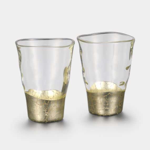 【金沢箔】箔一 貫入 一口グラス シャンパンゴールド (2個)