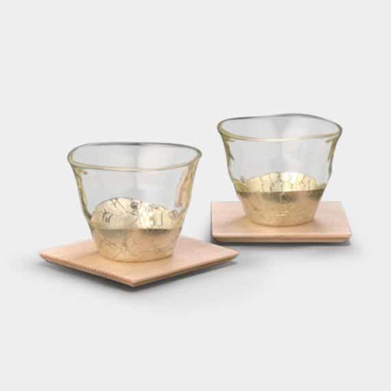【金沢箔】箔一 貫入 冷茶&コースター シャンパンゴールド (2個)