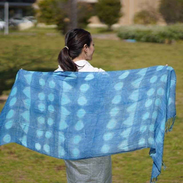 【藍染】インディゴ気仙沼 天然インディゴで手染めしたストール (絞り)