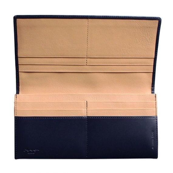 【松阪牛革】さとり (バンビ) 日本製・長財布 (小銭入無) (藍)