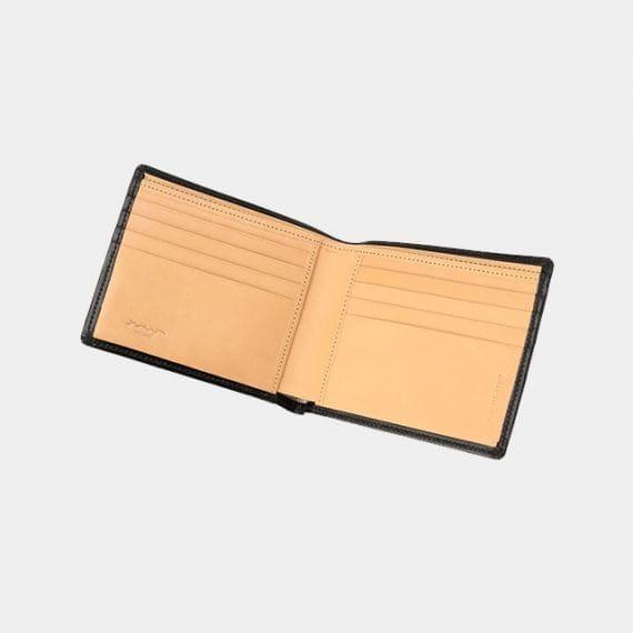【松阪牛革】さとり (バンビ) 日本製・二折財布 (小銭入無) (硯)