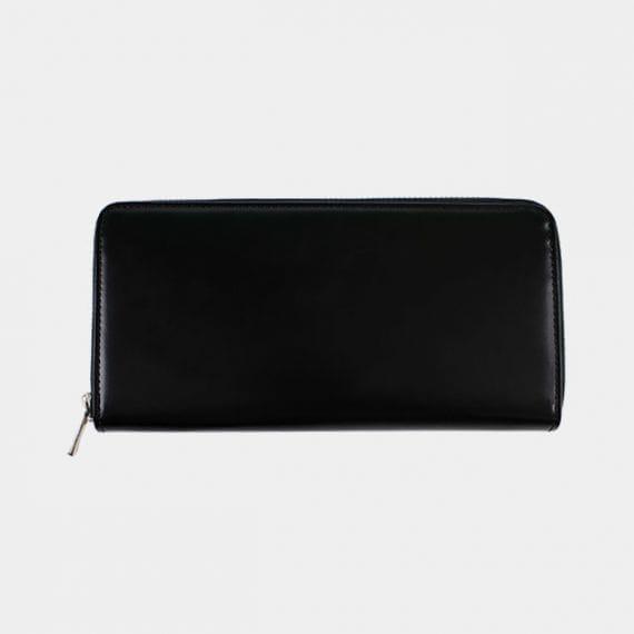 【松阪牛革】さとり (バンビ) 日本製・スマートラウンドファスナー長財布 (硯)