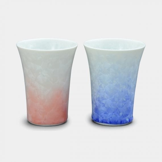 【京焼-清水焼】陶葊 花結晶 (白地青赤) フリーカップ (2点セット)
