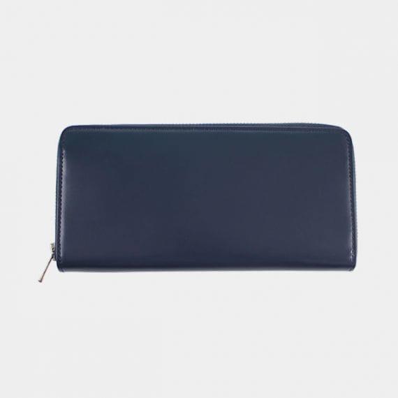 【松阪牛革】さとり (バンビ) 日本製・スマートラウンドファスナー長財布 (群青)