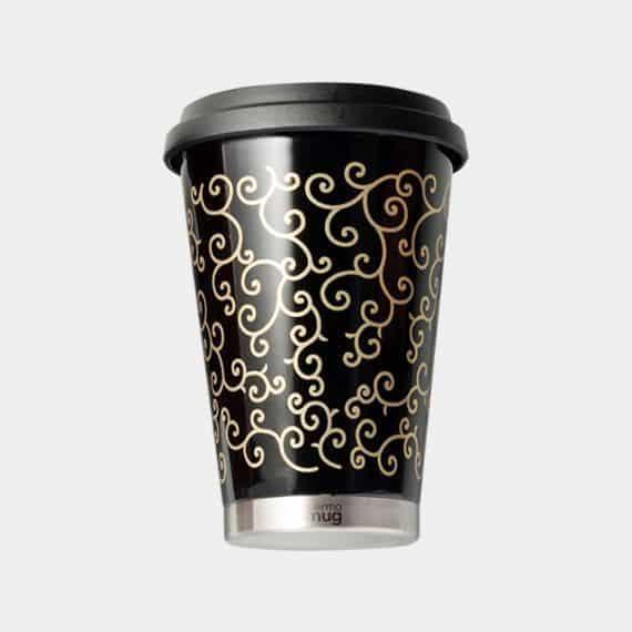 【越前漆器】thermo mug × 土直漆器 うるしモバイルタンブラー 唐草 (ブラック)