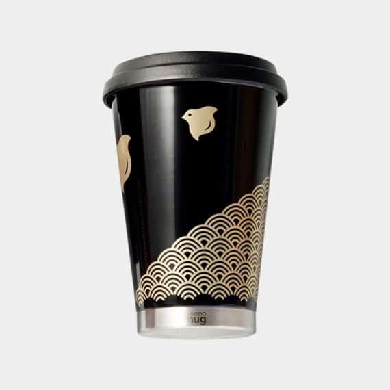 【越前漆器】thermo mug × 土直漆器 うるしモバイルタンブラー 波千鳥 (ブラック)