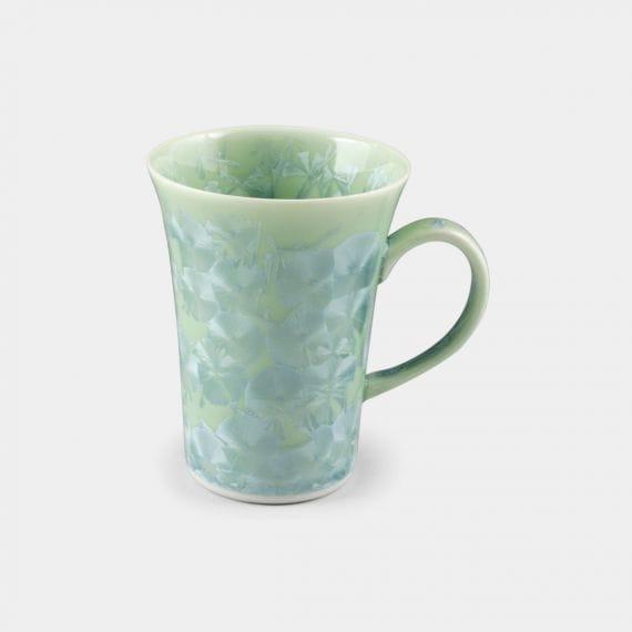 陶葊 花結晶 (緑) マグカップ【京焼-清水焼】