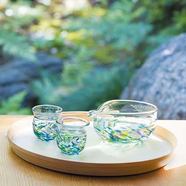 【津軽びいどろ】北洋硝子 (アデリア) 花うつし 紫陽花 酒器セット