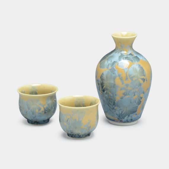 【京焼-清水焼】陶葊(とうあん) 花結晶 (炭青) 酒器 (3点セット)