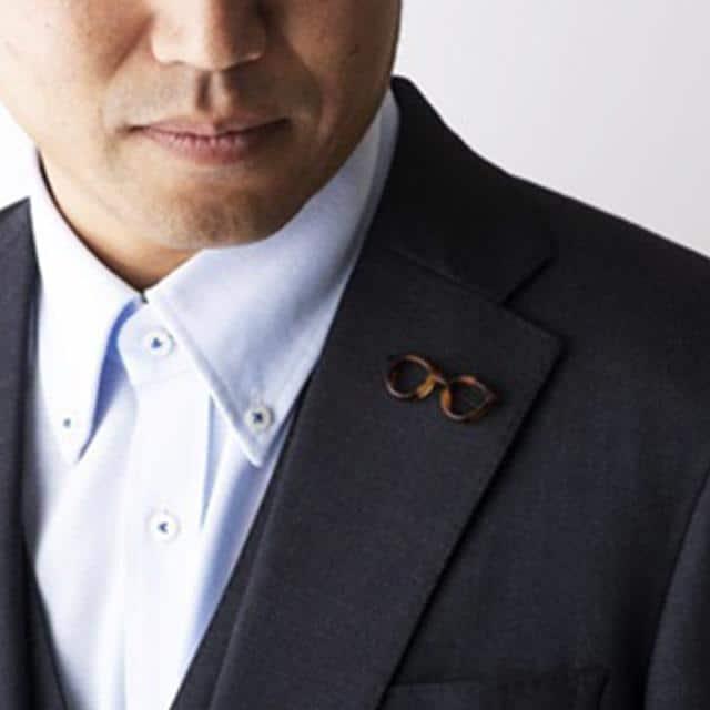 【鯖江】匠市 ラペルピン・メガネホルダーになるピンバッチ megane pin (ブラック)