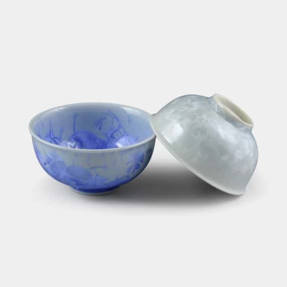 【京焼-清水焼】陶葊 花結晶 (青 白) 茶碗 (2点セット)