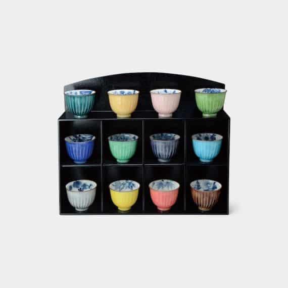 京焼-清水焼 陶葊 花交趾 (飾棚付) お茶吞み茶碗揃 (12点セット)【陶葊】