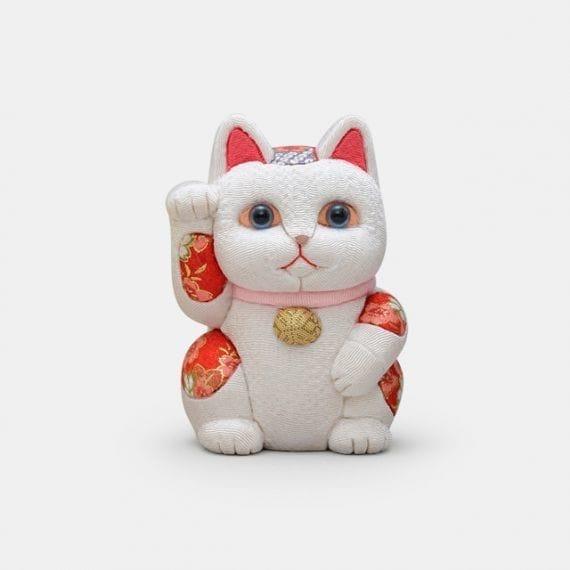 【江戸木目込み】招き猫 風水 [白] 無垢 リラックス