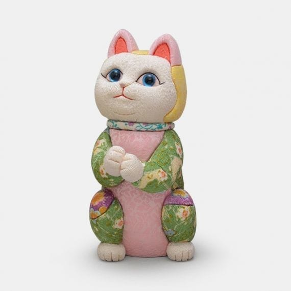 江戸木目込み 招き猫 星に願いを (ちりめん多色)【柿沼人形】