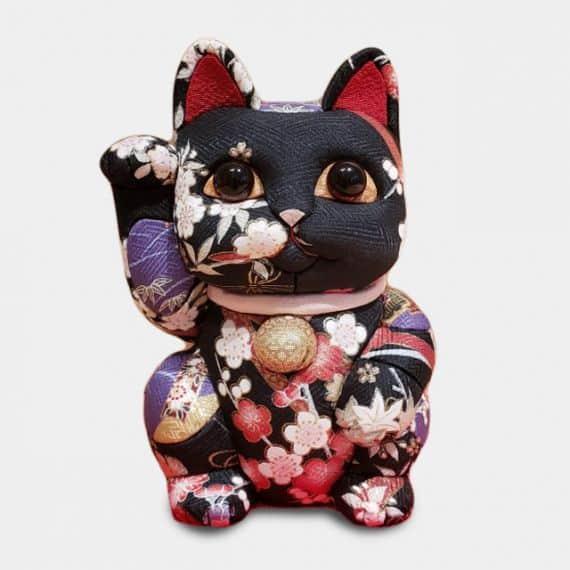 江戸木目込み 招き猫 (特大) 友禅 黒【柿沼人形】