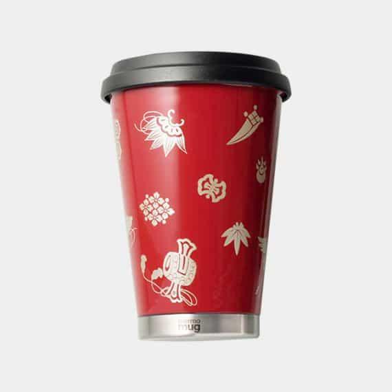 【越前漆器】thermo mug × 土直漆器 うるしモバイルタンブラー 宝尽くし (レッド)