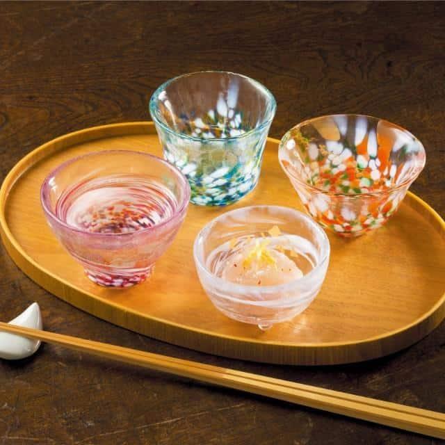 【津軽びいどろ】北洋硝子 (アデリア) 四季の盃