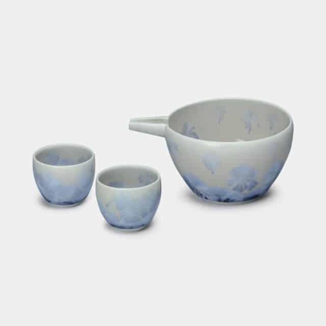 【京焼-清水焼】陶葊 花結晶 (銀藤) 片口酒器 (3点セット)