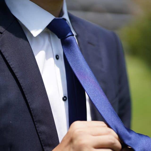 【郡内織物】富士桜工房 ネクタイ ネイビー 雅 33匁シルクサテン