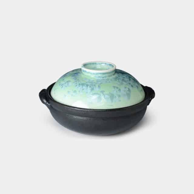 【京焼-清水焼】陶葊 花結晶 (緑) 土鍋 (IH専用)