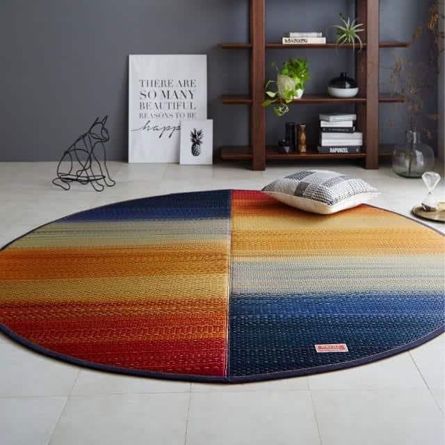 【い草-畳】イケヒコ い草ラグ デニムFジョイ 赤 (楕円, 190×210cm)