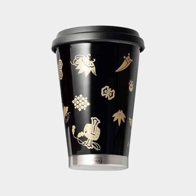 【越前漆器】thermo mug × 土直漆器 うるしモバイルタンブラー 宝尽くし (ブラック)