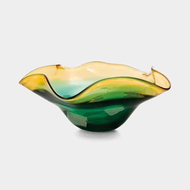 【津軽びいどろ】北洋硝子 (アデリア) 水盤・花器 (Green)