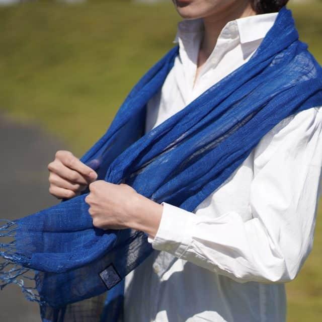 【藍染】インディゴ気仙沼 天然インディゴで手染めしたストール (3回染め)