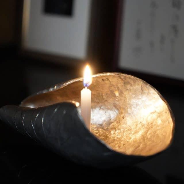 【天明鋳物】鋳金工房 このはずく 錫製 蓮の葉(ろうそく立て)