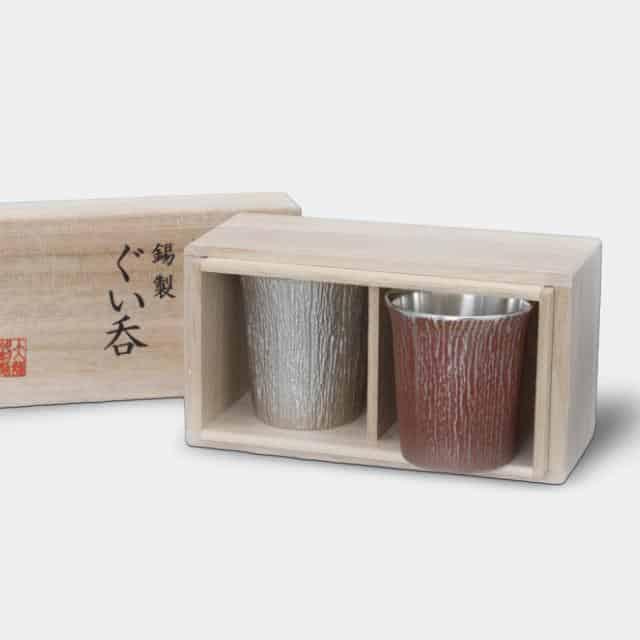 【大阪浪華錫器】大阪錫器 ぐい呑 松風紅白セット