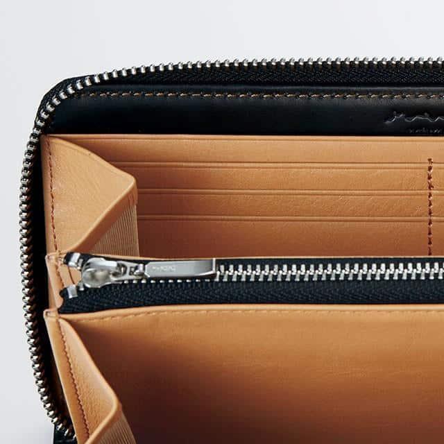 【松阪牛革】さとり (バンビ) 日本製・ラウンドファスナー長財布 (硯)
