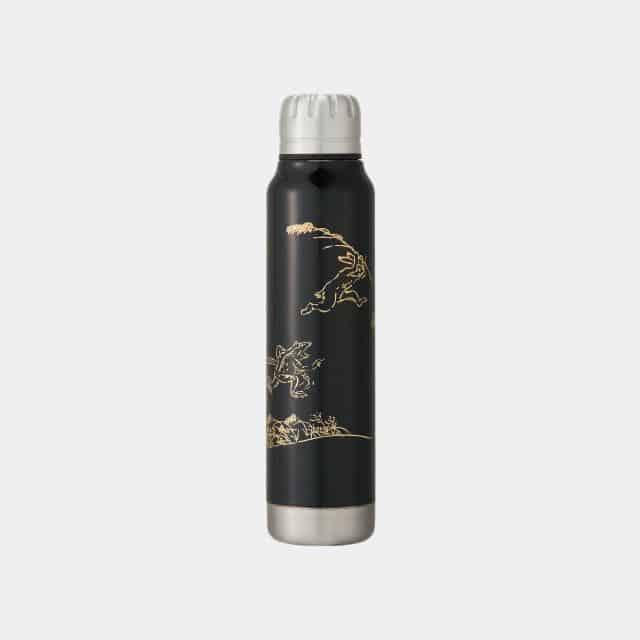【越前漆器】thermo mug × 土直漆器 うるしアンブレラボトル 鳥獣戯画 (ブラック)