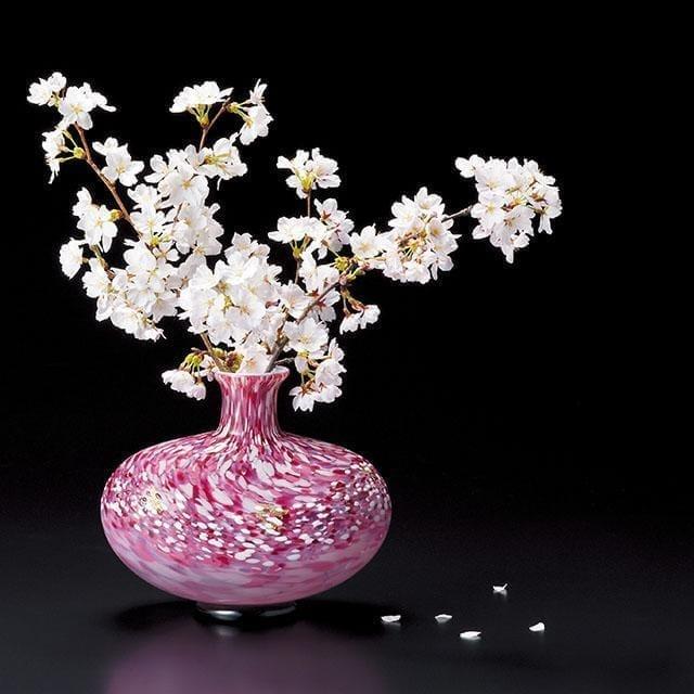 【津軽びいどろ】北洋硝子 (アデリア) 花あかり 花瓶 金耳付
