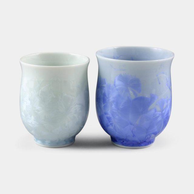 【京焼-清水焼】陶葊 花結晶 (青 白) 湯のみ (2点セット)