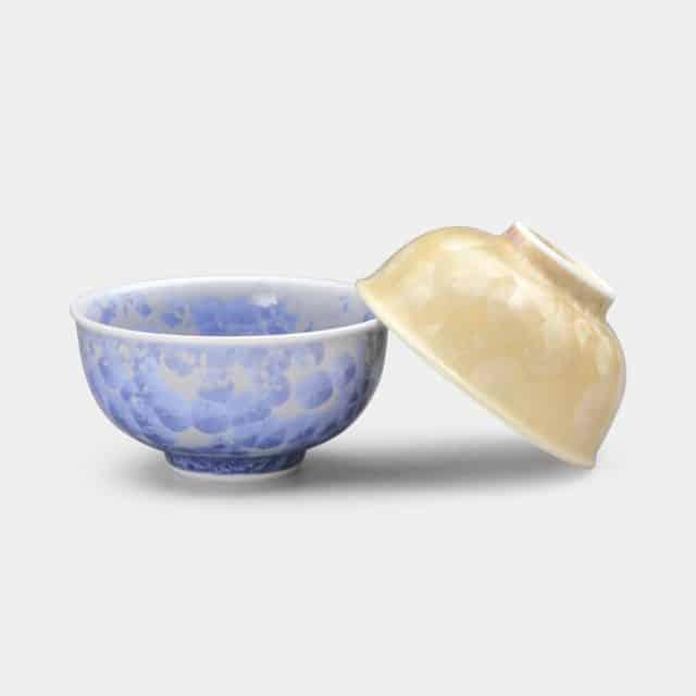 【京焼-清水焼】陶葊 花結晶 (銀花 金花) 茶碗 (2点セット)
